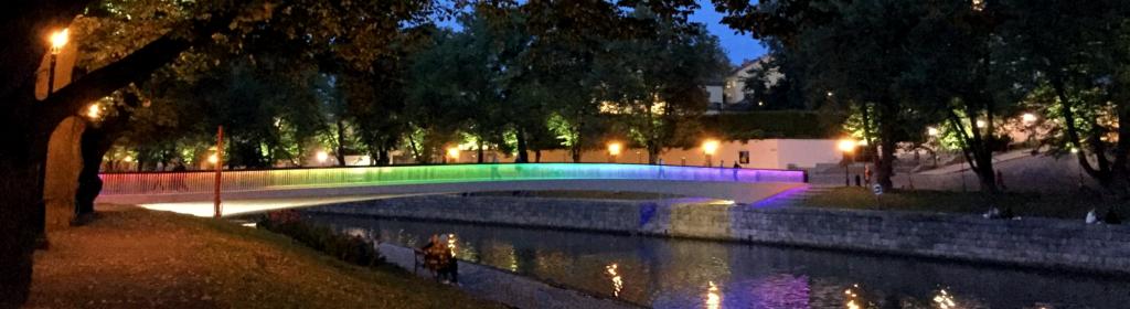 rainbow bridge, Turku library bridge, rainbow lights